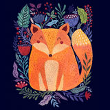 Fox and flowers Royalty Free Stock Images