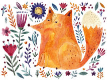 Fox and flowers Royalty Free Stock Photos
