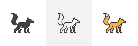 Fox with fluffy tail icon. Line, glyph and filled outline colorful version, fox wild animal outline and filled vector sign. Symbol, logo illustration stock illustration