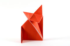 Fox folding origami. Origami folding  paper in the shape of a fox Royalty Free Stock Image