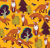 Fox in forest color seamless nature pattern. Royalty Free Stock Photography