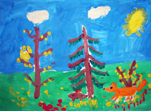 Fox in a forest - painted by child Royalty Free Stock Photo