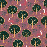 Fox forest seamless pattern design stock illustration