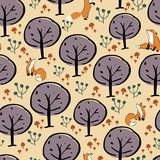 Fox forest seamless pattern design royalty free illustration