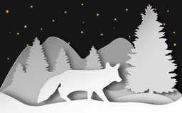 Fox in the forest. Vector illustration in layered paper art style. Vector template in abstract 3d carving style. Stock Images