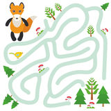 Fox and the Forest on white background  labyrinth game for Preschool Children. Vector Stock Photography