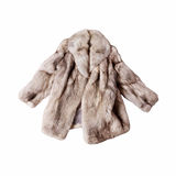 Fox fur coat. Real fox fur coat isolated on white background