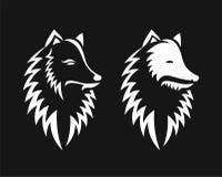 Fox głowy sylwetka odizolowywająca na czarnym tle royalty ilustracja