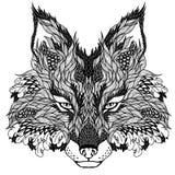 FOX głowy tatuaż psychodeliczny Obrazy Stock