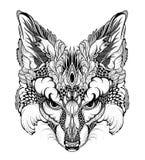 FOX głowy tatuaż psychodeliczny, zentangle styl/ Zdjęcia Stock