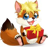 Fox and gift Stock Photo