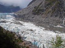 Fox Glacier. 13km long Fox Glacier on the South island of New Zealand stock photos