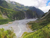 Fox Glacier - New Zealand. 13km long Fox Glacier on the South island of New Zealand surrounded by evergreen rain forest Stock Photo