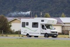 FOX GLACIER NEW ZEALAND - SEPTEMBER 4 : camper van parking road Royalty Free Stock Image