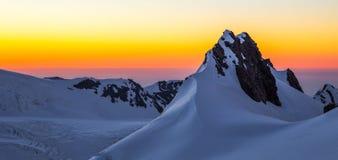 Fox Glacier Sunset. Sunset Over Fox Glacier Névé With Crevasses, Southern Alps, Westland Tai Poutini National Park, South Island, New Zealand royalty free stock photos