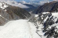 Fox-Gletscher, der unten von der Spitze schaut Lizenzfreie Stockfotos