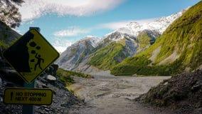 Fox-Gletscherwarnschild lizenzfreie stockbilder
