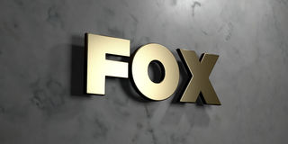 Fox - Gold sign mounted on glossy marble wall  - 3D rendered royalty free stock illustration Royalty Free Stock Images