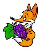 Fox grape fable cartoon illustration Stock Images