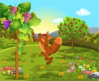 The fox and the grapes classic fable vector illustration Vector Illustration