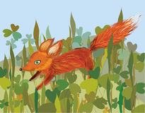 Fox in the grass. Funny cartoon Royalty Free Stock Image