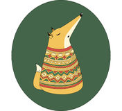 Fox on a green background. Fox in the pattern on a green background Royalty Free Stock Images