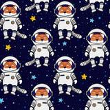 Fox gwiazdy w przestrzeni i astronauta, bezszwowy wzór Zdjęcia Stock