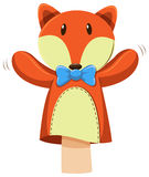 Fox hand puppet with blue bow. Illustration Royalty Free Stock Photography