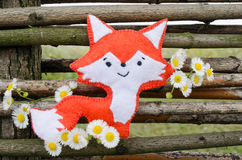 Fox handmade z kwiatem i drzewem Zdjęcie Royalty Free