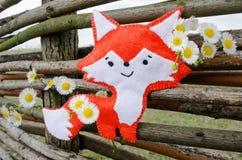 Fox handmade z kwiatem i drzewem Zdjęcia Royalty Free