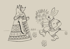 Fox and hare. Bunny in the Russian national costume gives flowers fox Stock Photo