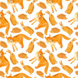Fox, hare and hedgehog seamless pattern.Forest animals. Royalty Free Stock Image