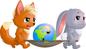 Fox and hare save the planet Royalty Free Stock Photography