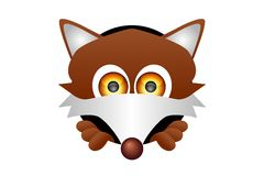 Fox Head. Vector illustration of a fox head coming out of a hole on a white background Royalty Free Stock Photos