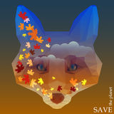 Fox head with autumn maple leaves floating on the sky background. concept illustration on theme of protection of nature and animal Stock Photo