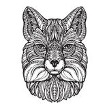 Fox head. Hand drawn sketch animal. Ethnic patterned vector illustration Royalty Free Stock Image