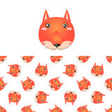 Fox Head Icon And Pattern Royalty Free Stock Image