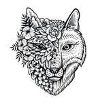 Fox head line art, vector illustration. Double exposure with conceptual line art. stock illustration