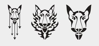 Fox head symbol - three variants Royalty Free Stock Image