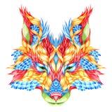 FOX head tattoo. psychedelic Royalty Free Stock Photo