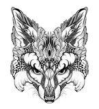 FOX head tattoo. psychedelic / zentangle style Stock Photos