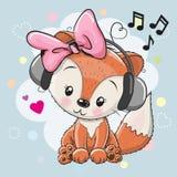 Fox with headphones and hearts. Cute cartoon Fox girl with headphones and hearts Stock Photo