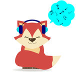 Fox in headphones. The fox sits and listens to music on headphones Stock Photos