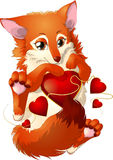 Fox and hearts Stock Image