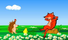 Fox and the hedgehog- illustrator Royalty Free Stock Photography