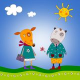 The fox and hippopotamus royalty free illustration