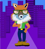 Fox hipster with coffee stock illustration