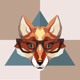 Fox in hipster glasses. Low-poly style Royalty Free Stock Images