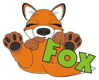 Fox hold a green word fox Stock Photography