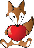 Fox holding a heart shape Royalty Free Stock Images